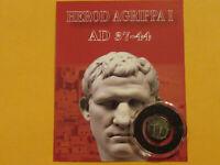 Judaea Bronze Prutah   almost 2000 year old  ROMAN coin of AGRIPPA I   Jesus