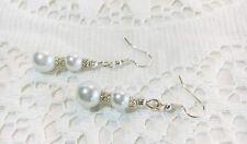 Bridal Wedding Pierced Earrings White Glass Pearl Beads Silvertone Daisy Brides
