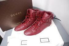 worn once GUCCI burgundy high top men's sneakers shoes 386738 10 1/2 / US 11 1/2