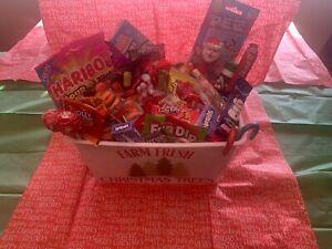 Holiday Candy Gift Basket with reusable Farm Fresh Christmas Tree holiday basket