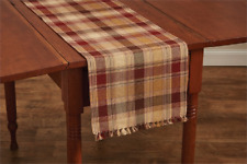 "Wine, Brown, Tan, Prim Mustard Country Plaid Hearthside 13""x36"" Table Runner"