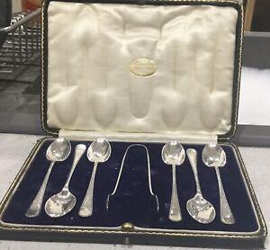 Sterling Silver Art Deco Tea Spoon & Tongs Set. J Rodgers & Sons. Sheffield 1927
