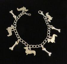 Dachshund Wiener Sausage Dog Charm Bracelet OMS & Sterling Plt Bones 7 or 8 inch
