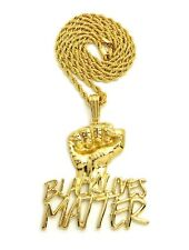 "Polished Black Lives Matter Pendant 4mm 24"" Rope Chain Hip Hop Necklace"