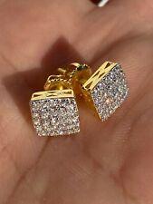 """Настоящий твердый 925 серебро со льдом бриллиант серьги винт задней золотой отделкой квадратный 1/3"""""""