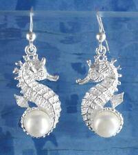 Seahorse Dangle Hook Earrings Freshwater Pearl Ocean Beach Sterling Silver wh346