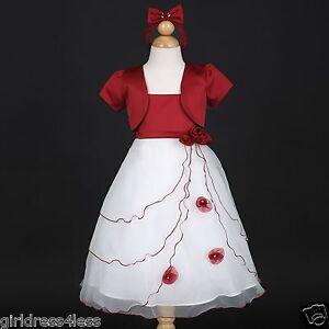Apple Red/White Christmas Holiday Flower Girl Dress Bolero Jacket 2 3/4 5/6 8 10