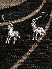 Zebra Charm Silver Hooks Earrings
