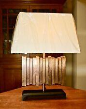 Large designer copper / wooden rectangular table lamp New shade