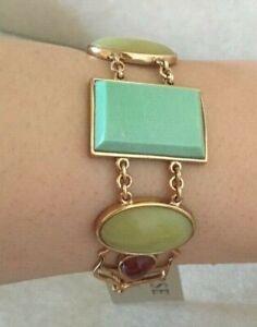 Barse Bracelet Genuine Varascite, Jade & Carnelian with Bronze,  MSRP $108