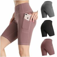Women High Waist Yoga Shorts Sport Workout Leggings with Pockets Tummy Control