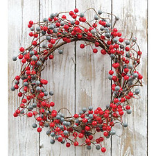 "Waterproof Scarlet Gray Berry 20"" Wreath"