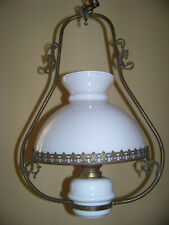 Antiker hochwertiger Kronleuchter - Messing, Porzellan & Glasschirm - elektrisch