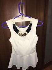 White Peplum Backless Top From River Island Size 8