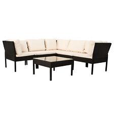 Polyrattan Gartenmöbel Ecksofa Lounge Rattan Sitzgruppe Sitzgarnitur Schwarz Neu