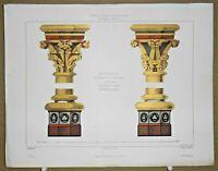 Gravure d' Architecture Chapiteaux des colonnes de l'arcature intérieure de.....