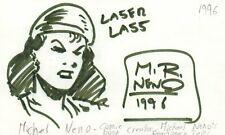 Michael Neno Comics Artist Creator Laser Lass Autographed Signed Index Card