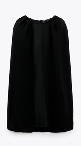 ZARA WOMAN NWT SS21 BLACK CAPE SLEEVE MINI DRESS ALL SIZES 8626/312