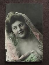 BEAUTIFUL WOMAN WITH LACY VIEL   - VTG COLOR TINTED  REAL PHOTO POSTCARD