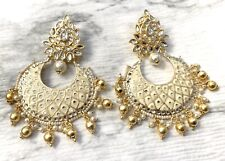 Jhumka Indian Earrings Jewelry Bollywood Kundan Jhumki Meenakari White Jewellery