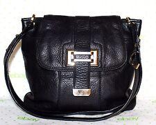 ✿ LIZ CLAIBORNE Black Pebbled Premium Leather Crossbody Bag 9x2.5x11 Gr8! L@@K!