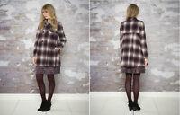MONSOON Red Ivory Black Catarina Wool Blend Warm Check Coat Jacket UK 10 to 12