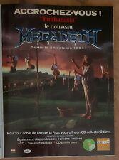 Publicité advert album concert tournée advertising MEGADETH 1994 Lp youthanasia
