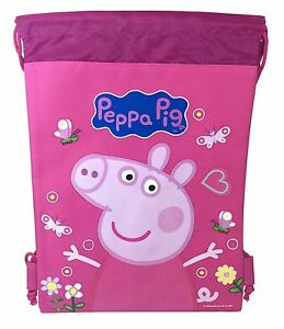 1pc Peppa Pig Drawstring Backpack Gym Tote Bags