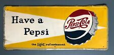 Large Vintage Pepsi Cola Embossed Metal Sign, CIRCA 1958 | Great for Home Bar!