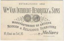 1880s Belgian Furniture Manufacturer Trade Card - Belgium Cabinetwork