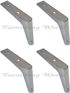 4 x Chrome Steel angled feet Furniture Sofa feet Cabinet stool table cabinet