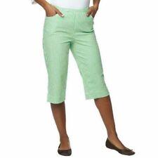 Quacker Factory Nautical Seersucker Pedal Pushers Sz XL QVC Green Cropped Pants