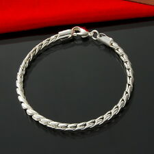 925Sterling Silver Jewelry Lovely Snake Bone Chain Men Bracelet 4MM 8inch HY210