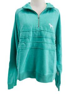 Victoria's Secret PINK Women's Mint Green Boyfriend 1/4 Zip Sweatshirt Large NEW