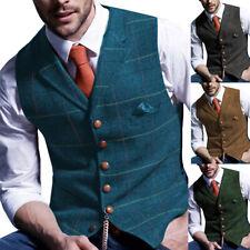 Herren Blau Tweed Weste Herringbone Wolle V-Hals Vintage Anzug Lapel Plaid S-3XL