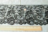 "Pretty Antique French Black Chantilly Handmade Lace Flounce~L-24"" X W-6"""