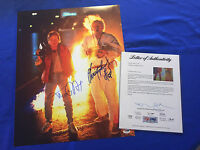 Michael J Fox Christopher Lloyd Hand Signed Back To The Future 16x20 PSA/DNA COA