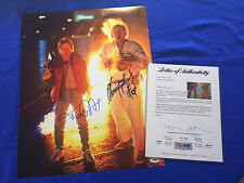 Michael J Fox Christopher LLoyd Hand Signed Back To The Future 16x20 PSA/DNA LOA