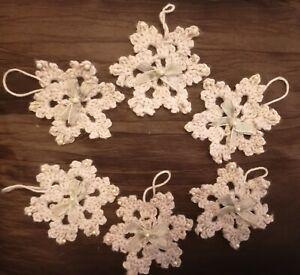 6 Grey Hand Crocheted Snowflakes Bow Bead Detail Hanging Xmas Tree Decor