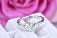 0.75 Ct Round Cut Solitaire Diamond Engagement Ring 18K White Gold Rings Size K