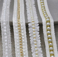 """APPLIQUE BEADS SEQUINS PEARLS BRIDAL 2/""""x4.5/"""" SOFT WHITE FLOWER LEAVES 1pc"""