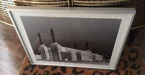 Unusual Framed Negative Black & White Photo of Battersea Power Station VGC