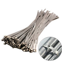 100PCS Stainless Steel Self Locking Cable Zip Ties Wrap Coated 150/200/300mm