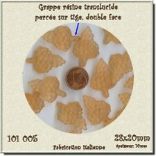 101006 *** 10 perles-pendentif GRAPPE 28x20mm résine satinée ORANGE