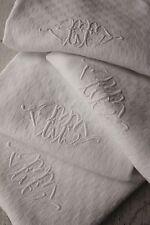 French napkin Set 4 Ef monogrammed Cotton 20X25 c1900 white old Soft