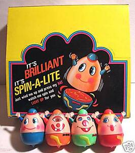4 Spin A Lite Asst 2 Wind Up 1960 Battery Toy Old Stock