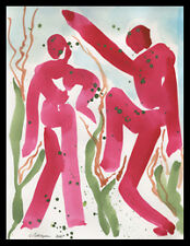 Rain Dance for Spring figures = C PETERSON Original Watercolor PAINTING = Listed