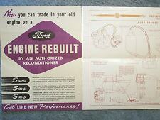 1947 ? FORD BROCHURES ENGINES REBUILT + INTERFERENCE ELIMINATOR GLOSSY 1960 ?+