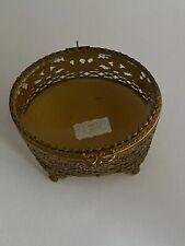 ORMOLU JEWELRY BOX FILIGREE & BEVELED GLASS 24K GOLD  PLATED  BOX