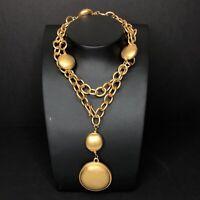 Vtg Liz Claiborne Inc Chunky Chain Necklace Satin Matte Gold Medallion Runway
